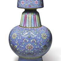 541. an extremely rare blue-ground famille-rose tibetan-style altar vase (bumpa hu) qianlong seal mark and period |