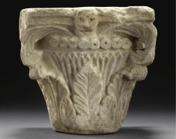 87. a carved marble capital, southern italy, apulia or sicily, 11th/12th century