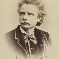 184. grieg, edvard. fine cabinet photograph signed in black ink showing the composer