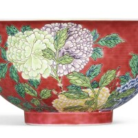 3303. a rare and superbly enamelled ruby-ground falangcai 'peony'bowl puce-enamel yuzhi mark and period of kangxi |