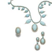33. turquoise and diamond parure