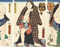 48. utagawa kunisda (1786–1864), utagawa kuniyoshi (1797–1861) and utagawa toyokuni (1769–1825)a group of five sumo prints edo period, 18th–19th century  