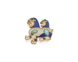 46. gem-set and diamond brooch, cartier