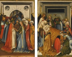 41. south netherlandish school, possibly tournai, circa 1418-25   four panels depicting episodes from the life of the virgin the miracle of the blossoming rodst jerome (verso); the marriage of the virginst ambrose (verso); the death of the virginst gregory (verso); the assumption of the virgin