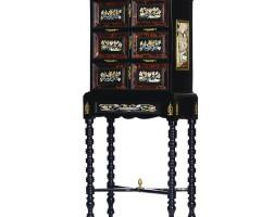 393. an italian gilt-bronze mounted, ebonised, tortoiseshell and pietre dura cabinet-on-stand 19th century