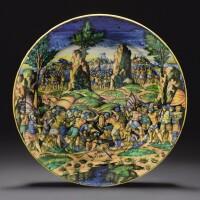 2. an urbino maiolica istoriato dish,piatto da pompa, probably the fontana workshop,, circa 1550-60