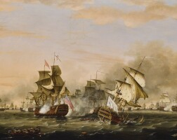 188. thomas whitcombe   the battleof the saints, 12 april 1782;the victory of admiral sir george rodney'sflagship 'the formidable' against the french flagship 'ville de paris'