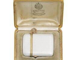 339. a fabergé silver-gilt and enamel vesta case, workmaster anna ringe, st petersburg, 1904-1908