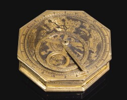 2. christopher schissler. a gilt-brass astronomical compendium, german, dated 1556 | a gilt metal compendium watch plus four pieces with astrolabes and sun dial