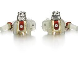 329. a pair of fabergé jewelled gold, enamel and hardstone cufflinks, workmaster henrik wigström, st petersburg, 1908-1917