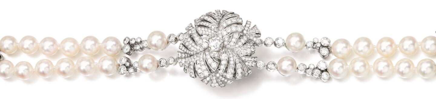 Cultured pearl and diamond bracelet, 'Panache', Chanel in an auction selling fine jewelry