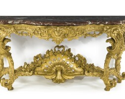 14. a large and fine louis xv carved giltwood console table, after a design by pierre contant d'ivry circa 1755