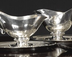 9. a pair of danish silver sauce boats, stands and ladles, georg jensen silversmithy, copenhagen, 20th century