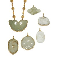 252. collection of eight carved nephrite pendants