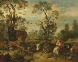104. gillis claesz. d'hondecoeter   landscape with cattle, horses, a cheetah, a camel and other animals