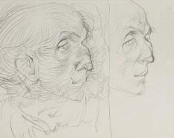 14. [bousquet]. — hans bellmer. double portrait de joë bousquet. dessin original à la mine de plomb (130 x 208 mm)