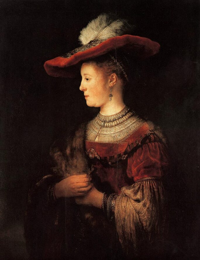 Rembrandt painting for his wife Saskia, shown in profile in sumptuous red dress and cap, jewels and a fur stole.