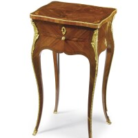 38. a louis xv ormolu-mounted bois satiné, amaranth and marquetry table à écrire circa 1755, stamped carel, remounted