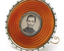 7. a fabergé gold and enamel photograph frame, workmaster michael perchin, st. petersburg, circa 1895