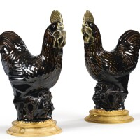 30. a pair of gilt-bronze mounted chinese porcelain cockrells, the mounts in régence style  