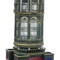 1160. a large victorian parcel-gilt green painted verre-églomisé and ivory mounted birdcage second half 19th century