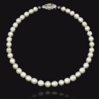98. fine natural pearl and diamond necklace