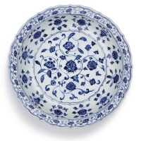 2. a finely painted blue and white 'floral' charger ming dynasty, yongle period |