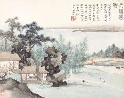 2712. 吳湖帆 水繪園圖 | 設色紙本 鏡框 一九三八年作