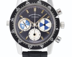 17. 豪雅(heuer) | 零售商為abercrombie & fitch:2446c型號「seafarer」精鋼計時腕錶備潮汐顯示,年份約1968。