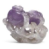 238. 清十九世紀 紫晶三多擺件 |