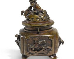 30. a chinese bronze 'mythical beast' censer and cover, qing dynasty,19th century  
