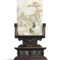 3617. an imperially inscribed white and black jade table screen qing dynasty, qianlong period