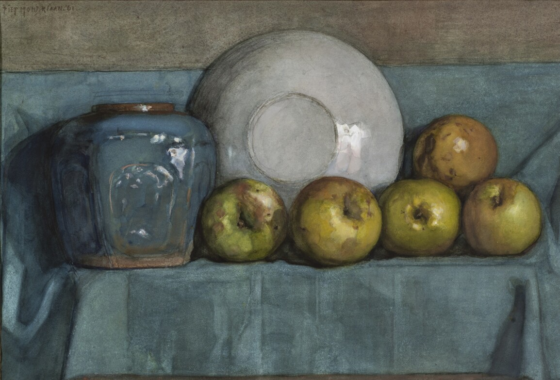 Piet Mondrian, Appels, gemberpot en bord op een richel (Apples, Ginger Pot and Plate on a Ledge), 1901.