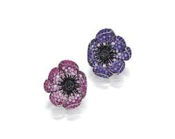 1636. 粉紅色剛玉或紫水晶及鑽石耳環一對, michele della valle