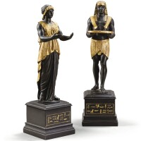 30. a pair of italian black and gold wood egyptian figures, naples, probably late 18th/early 19th century |