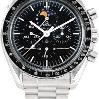 155. omega | speedmaster professional moonwatch, reference st 345.0809 a stainless steel chronograph wristwatch with date, moon phases and bracelet, made in 1987