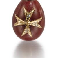305. a gold, enamel and purpurine egg pendant, erik kollin, st petersburg, circa 1890