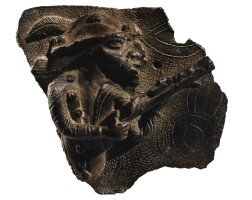 198. fragment de plaque en bronze, edo, royaume du benin, nigeria, xvie-xviie siècles |