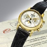 45. 百達翡麗(patek philippe) | 3970ej型號黃金萬年曆計時腕錶備月相、24小時及閏年顯示,1990年製。
