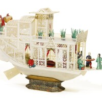334. a canton polychrome and carved ivory pleasure boat qing dynasty, circa 1840