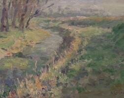 127. gustave loiseau | paysage ruisseau dans la campagne