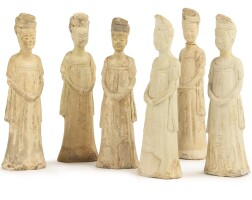 46. a set of six straw-glazed pottery figures of female attendants sui dynasty