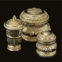 2. a royal german silver-gilt beaker and cover and two circular toilet boxes and covers, georg drewes, hanover, circa.1841, date letter h
