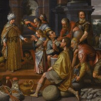 136. pieter pietersz. the younger | joseph distributing the harvest to the egyptians and benjamin being presented to his brother, the discovery of the silver cup in the sack of corn beyond