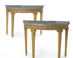 36. a pair of fine george iii giltwood marble-top demi-lune pier tables circa 1770