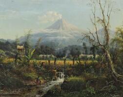6. maurits van den kerkhoff | a javanese village with a volcano beyond, thought to be mount semeru