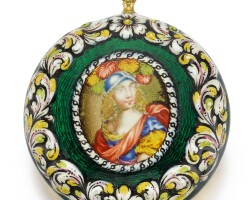12. denis bordier | a fine and smallgold and enamel single cased verge watch the enamel painting attributed to pierre huaud iicirca 1675