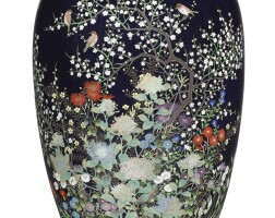 167. a cloisonné vase signed nagoya hayashi saku and with the mark of the workshop of hayashi kodenji (1831-1915), meiji period, late 19th century | a cloisonné vase signed nagoya hayashi saku and with the mark of the workshop of hayashi kodenji (1831-1915)