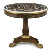 95. a george iv brass-inlaid rosewood specimen marble center table