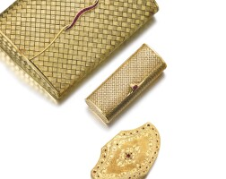107. group of gold and ruby accessories